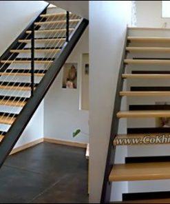 Mẫu thiết kế cầu thang sắt bậc đi gỗ CK284 đẹp ngất ngây tại đây