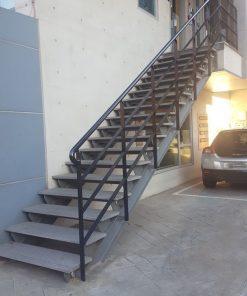 Mẫu cầu thang sắt I nhà xưởng CK511 - bậc gắn đá, gỗ hoặc sắt tùy chọn
