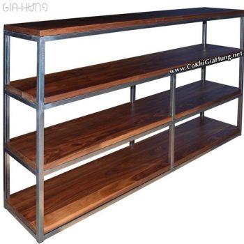 Xưởng cơ khí Gia Hưng làm kệ chứa hàng khung sắt mặt gỗ CK487 giá rẻ