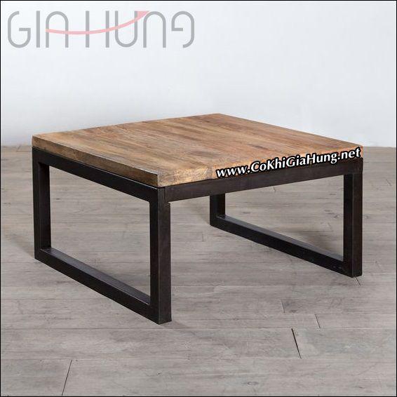 Bàn ngồi bệt khung chân sắt mặt gỗ CKB741