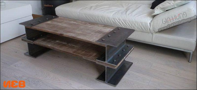 Bàn khung chân sắt I mặt gỗ giả cổ GHB718 đẹp tuyệt vời