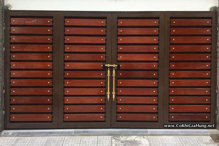 Mẫu cửa cổng sắt hộp giả gỗ CK1137