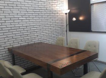 Bàn làm việc - bàn họp văn phòng CK1358 khung chân sắt mặt gỗ cực đẹp