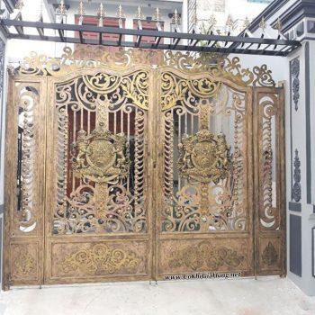 Mẫu cửa cổng sắt tấm cắt hoa văn CNC GHK-1433